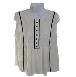 ZARA Sleeveless Blouse, Shirring/Pleats, Ivory, L